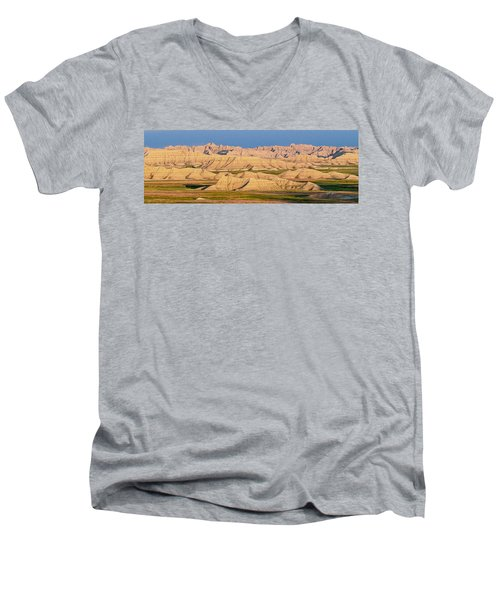 Men's V-Neck T-Shirt featuring the photograph Good Morning Badlands I by Patti Deters
