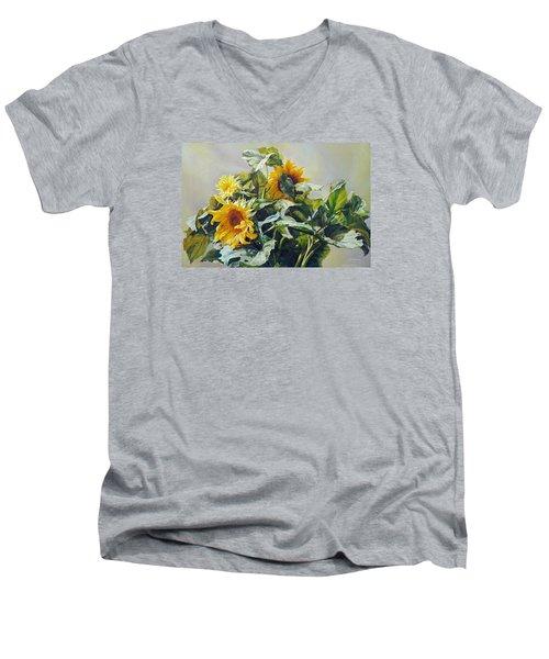 Good Morning - Sunflower In Love Men's V-Neck T-Shirt by Svitozar Nenyuk