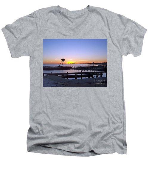 Men's V-Neck T-Shirt featuring the photograph Goodbye Sun by Roberta Byram