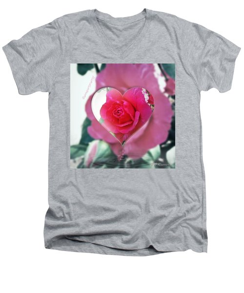 Valentine's Day Rose Men's V-Neck T-Shirt