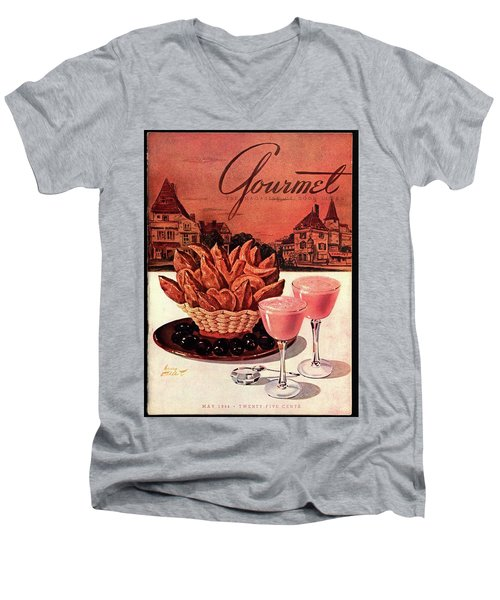 Gourmet Cover Featuring A Basket Of Potato Curls Men's V-Neck T-Shirt by Henry Stahlhut