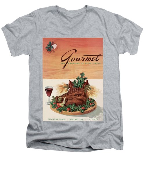 Gourmet Cover Featuring A Boar's Head Men's V-Neck T-Shirt