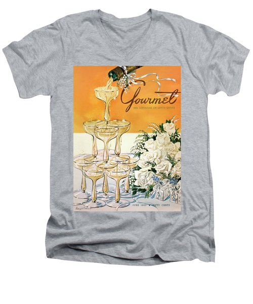 Gourmet Cover Featuring A Pyramid Of Champagne Men's V-Neck T-Shirt