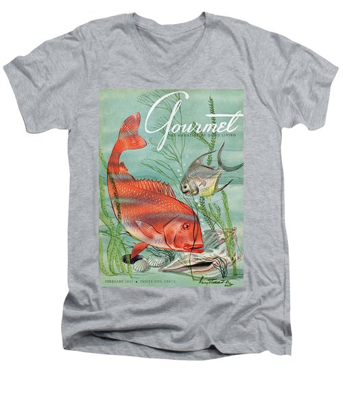 Gourmet Cover Featuring A Snapper And Pompano Men's V-Neck T-Shirt