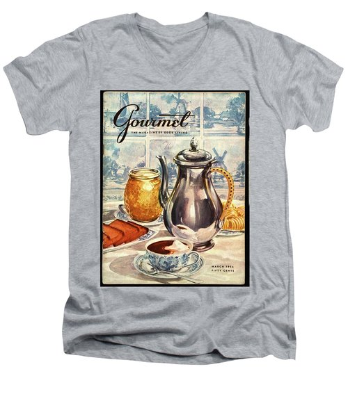 Gourmet Cover Featuring An Illustration Men's V-Neck T-Shirt