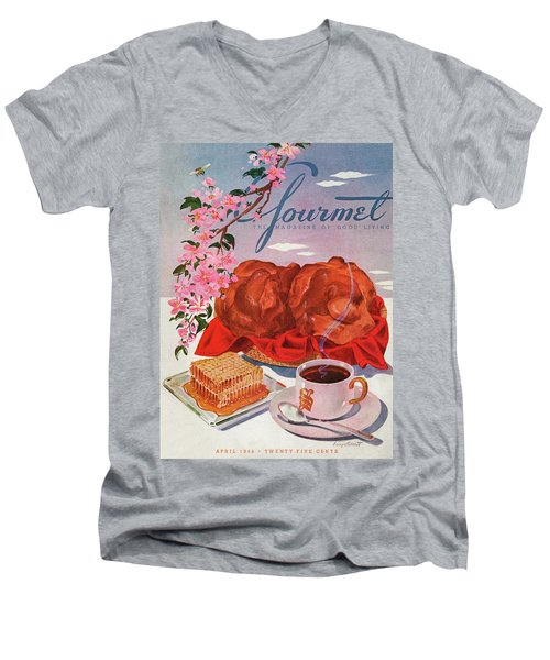 Gourmet Cover Illustration Of A Basket Of Popovers Men's V-Neck T-Shirt