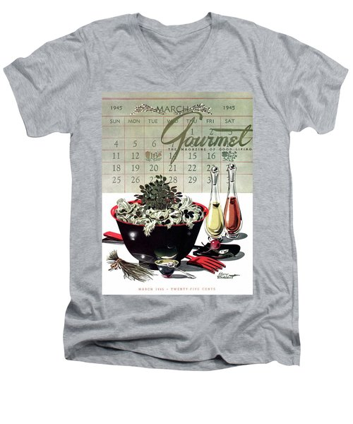 Gourmet Cover Illustration Of A Bowl Of Salad Men's V-Neck T-Shirt