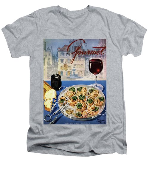 Gourmet Cover Illustration Of A Platter Men's V-Neck T-Shirt