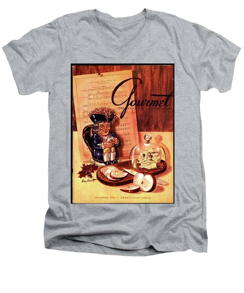 Gourmet Cover Illustration Of A Tray Of Cheese Men's V-Neck T-Shirt