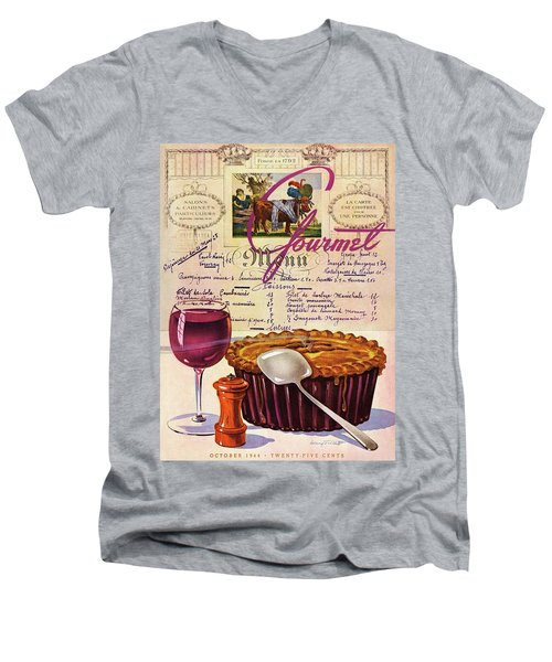 Gourmet Cover Illustration Of Deep Dish Pie Men's V-Neck T-Shirt