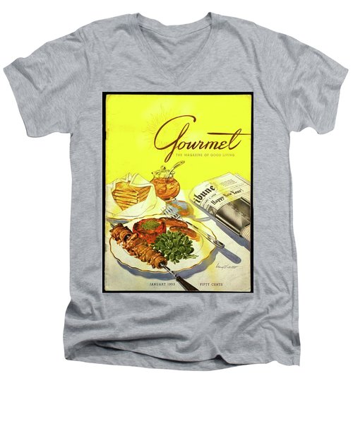 Gourmet Cover Illustration Of Grilled Breakfast Men's V-Neck T-Shirt