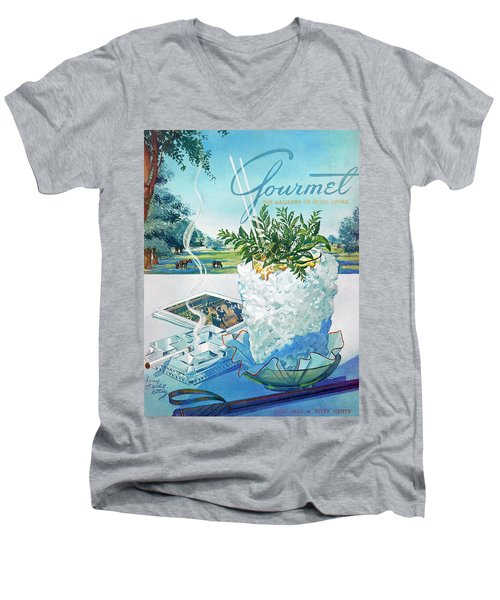 Gourmet Cover Illustration Of Mint Julep Packed Men's V-Neck T-Shirt