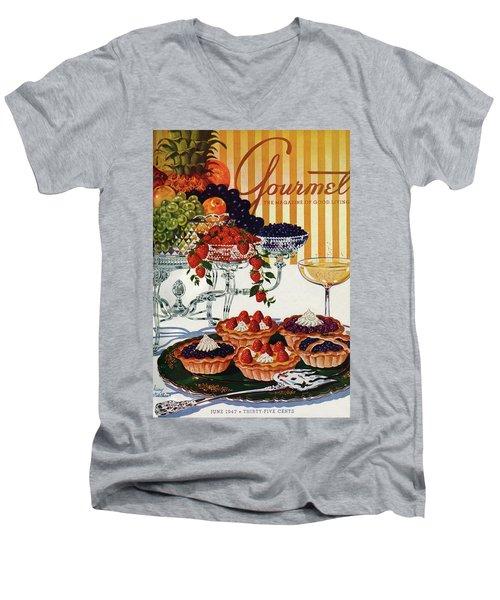 Gourmet Cover Of Fruit Tarts Men's V-Neck T-Shirt