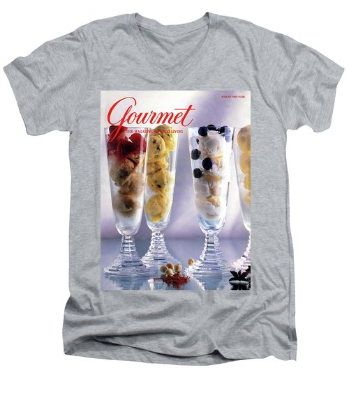 Gourmet Magazine Cover Featuring Ice Cream Men's V-Neck T-Shirt
