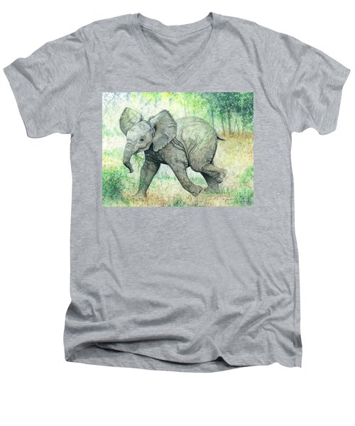 Grabbing A Snack Men's V-Neck T-Shirt by Barbara Jewell