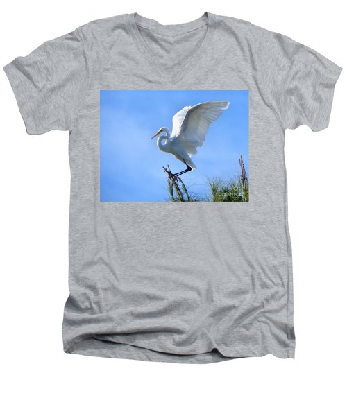 Men's V-Neck T-Shirt featuring the photograph Graceful Landing by Deb Halloran