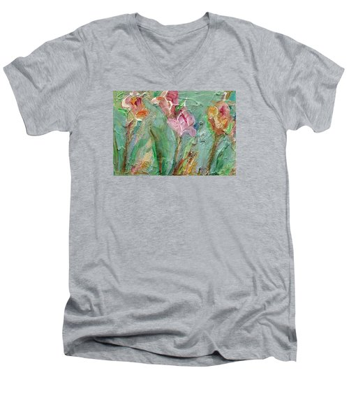 Men's V-Neck T-Shirt featuring the painting Grace's Garden by Mary Wolf