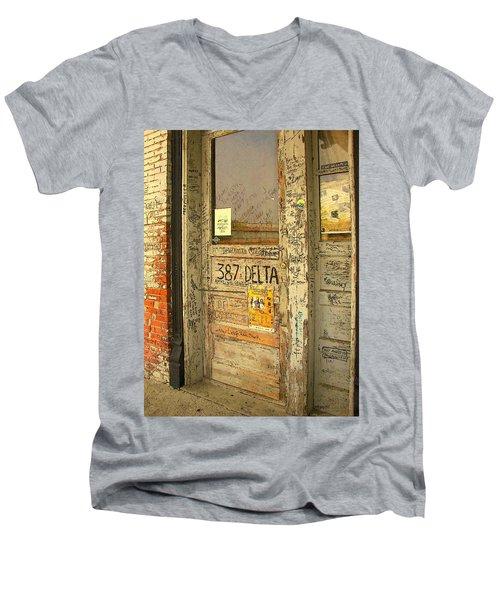 Graffiti Door - Ground Zero Blues Club Ms Delta Men's V-Neck T-Shirt by Rebecca Korpita