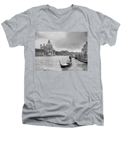 Men's V-Neck T-Shirt featuring the painting Grand Canal Venice Italy by Georgi Dimitrov