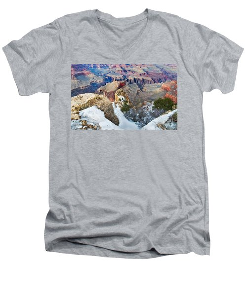 Men's V-Neck T-Shirt featuring the photograph Grand Canyon In February by Mae Wertz