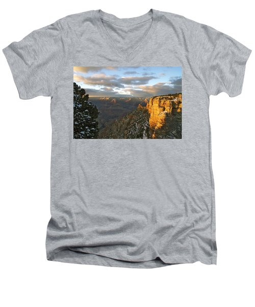 Grand Canyon. Winter Sunset Men's V-Neck T-Shirt by Ben and Raisa Gertsberg
