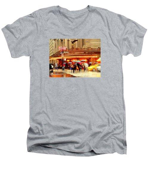 Grand Central Station In The Rain - New York Men's V-Neck T-Shirt by Miriam Danar