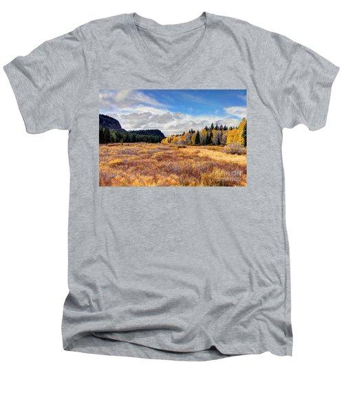 Grand Mesa Colors Men's V-Neck T-Shirt by Bob Hislop