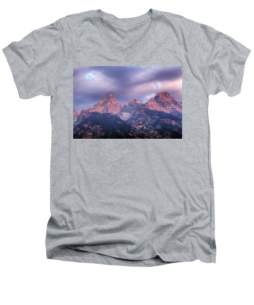 Men's V-Neck T-Shirt featuring the photograph Grand Teton In Morning Clouds by Alan Vance Ley