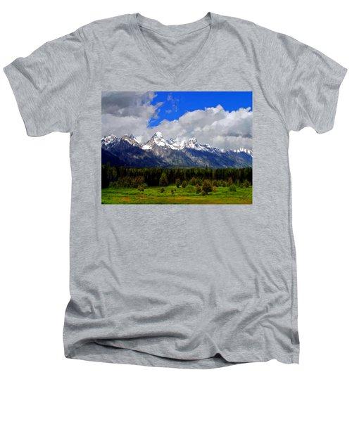 Grand Teton Mountains Men's V-Neck T-Shirt by Bruce Nutting