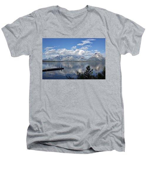 Grand Tetons In The Morning Light Men's V-Neck T-Shirt