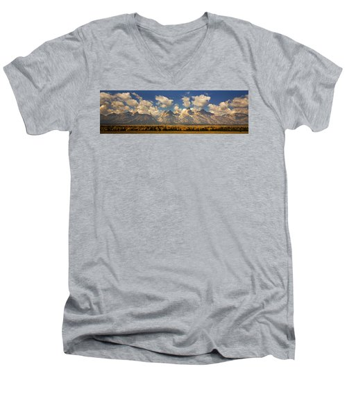 Men's V-Neck T-Shirt featuring the photograph Grand Tetons by Sonya Lang