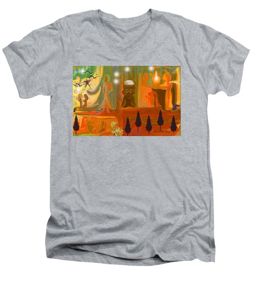 Men's V-Neck T-Shirt featuring the painting Grandpas House For His Little Peeps by Sherri  Of Palm Springs