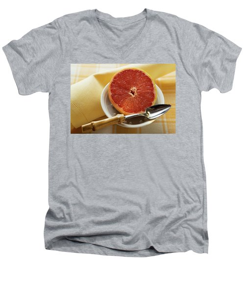 Grapefruit Half With Grapefruit Spoon In A Bowl Men's V-Neck T-Shirt