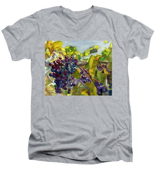 Men's V-Neck T-Shirt featuring the painting Grapevines by Lynne Reichhart