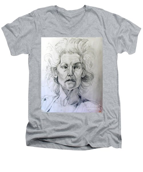Men's V-Neck T-Shirt featuring the drawing Graphite Portrait Sketch Of A Well Known Cross Eyed Model by Greta Corens
