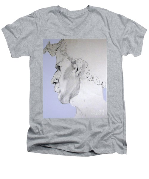 Men's V-Neck T-Shirt featuring the drawing Graphite Portrait Sketch Of A Young Man In Profile by Greta Corens