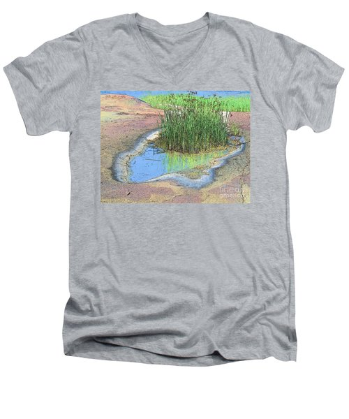 Men's V-Neck T-Shirt featuring the photograph Grass Growing On Rocks by Teresa Zieba