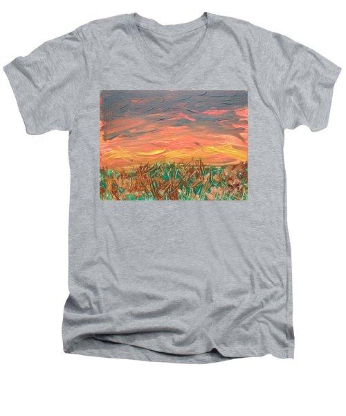 Grassland Sunset Men's V-Neck T-Shirt