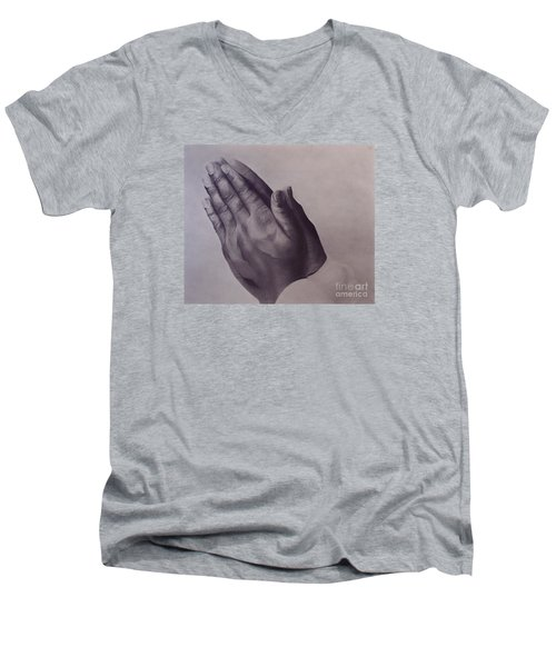 Men's V-Neck T-Shirt featuring the drawing Grateful One by Wil Golden