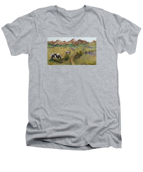 Grazing Cows Men's V-Neck T-Shirt by Katherine Young-Beck