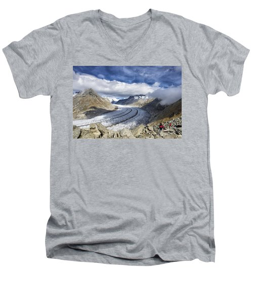 Great Aletsch Glacier Swiss Alps Switzerland Europe Men's V-Neck T-Shirt