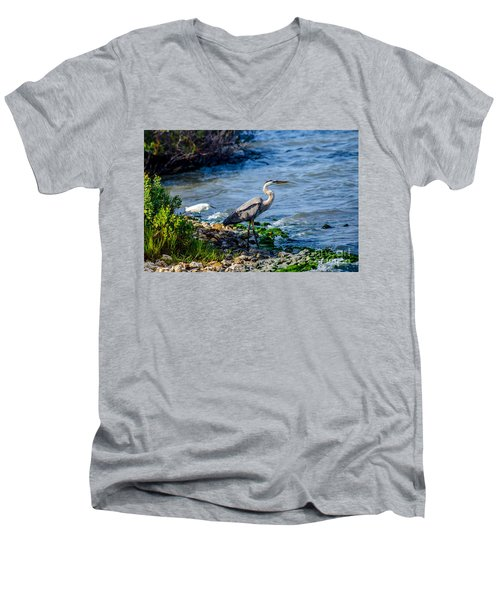Great Blue Heron And Snowy Egret At Dinner Time Men's V-Neck T-Shirt