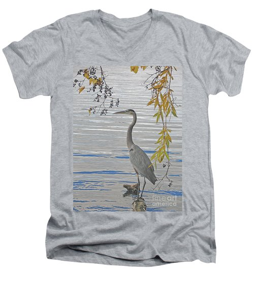 Great Blue Heron Men's V-Neck T-Shirt by Ann Horn