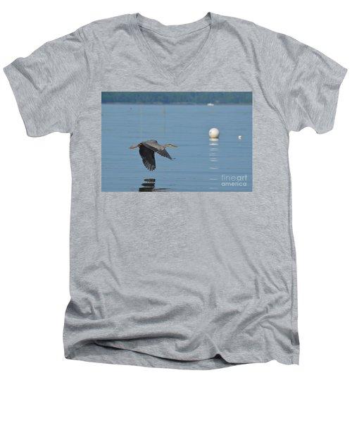Great Blue Heron  Men's V-Neck T-Shirt by DejaVu Designs