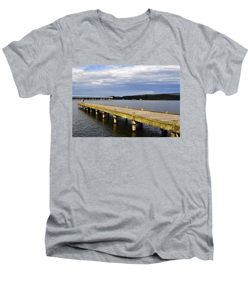Great Blue Heron Sunning On The Dock Men's V-Neck T-Shirt by Verana Stark