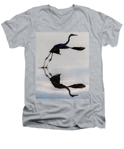 Great Blue Heron Takeoff Men's V-Neck T-Shirt