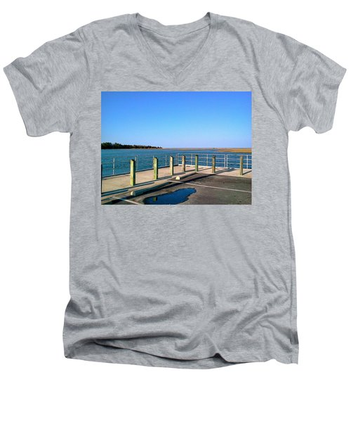 Men's V-Neck T-Shirt featuring the photograph Great Day For Fishing In The Marsh by Amazing Photographs AKA Christian Wilson