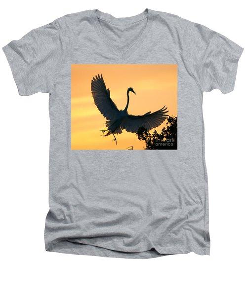Men's V-Neck T-Shirt featuring the photograph  Sunset Ballet by John F Tsumas