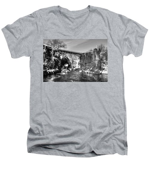 Great Falls In The Winter Men's V-Neck T-Shirt