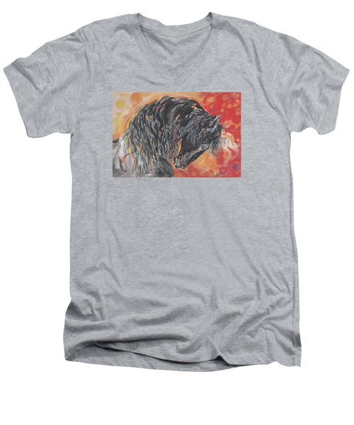 Great Fresian Men's V-Neck T-Shirt by Mary Armstrong
